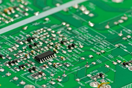 Close up green circuit board Stock Photo - 9377024
