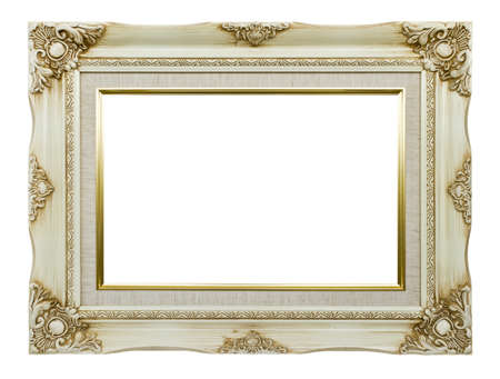 Antique white picture frame photo