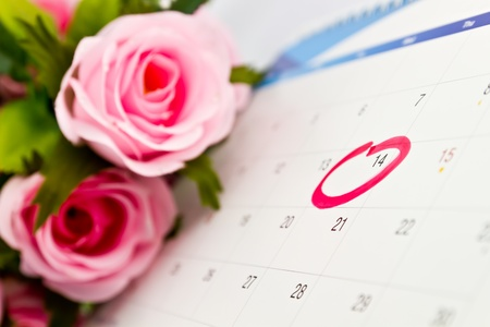 Calendar 14th with roses background photo