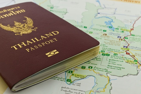 Thai passport on a map