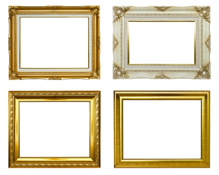 Set of rectangular vintage picture frames photo