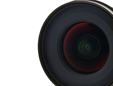 Close up camera lens on white background photo