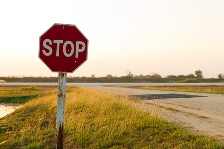 airfield: Stop sign at an airfield