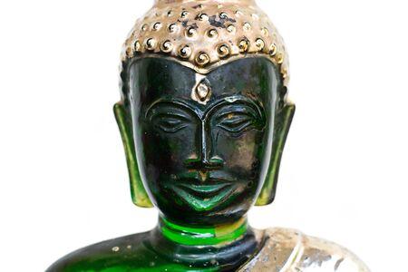 Emerald Buddha image, a model of emerald Buddha image over white background  photo