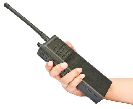 Hand holding walkie-talkie