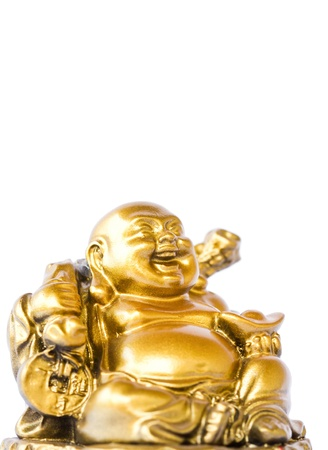 Smiling Buddha - Chinese God of Happiness, Wealth and Lucky Isolated on white background