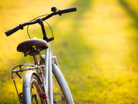 ciclismo: Una vieja bicicleta en el prado durante la puesta de sol con poca profundidad de campo dept