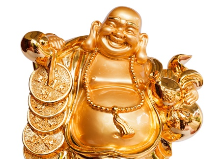 chinese buddha: Smiling Buddha - Chinese God of Happiness, Wealth and Lucky Isolated on white background