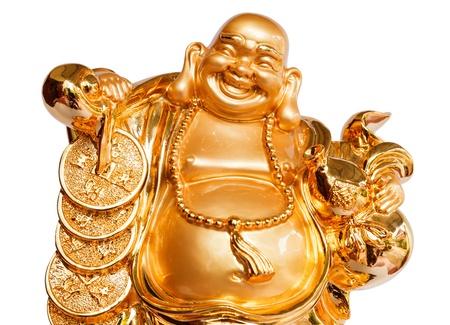 Smiling Buddha - dio cinese della felicità, ricchezza e fortuna, isolato su sfondo bianco