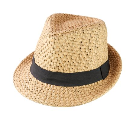 head wear: A woven fashion hat isolate on white background