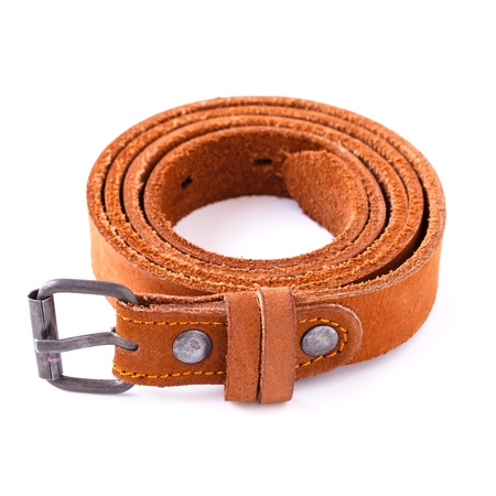 waistband: Brown leather belt isolated on white background