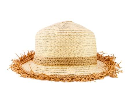 chapeau de paille: Femme chapeau de mode tissés isoler sur fond blanc Banque d'images