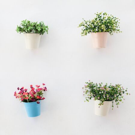 Colorful flowerpots on the white concrete wall photo