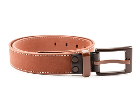 strap: Brown leather belt isolated over the white background