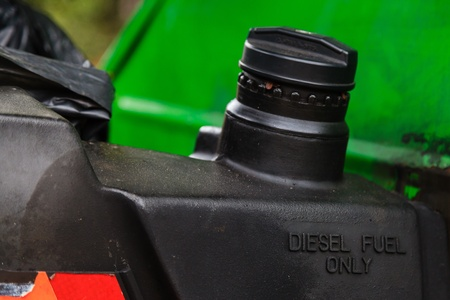 Diesel fuel only marked on fuel tank of a car, closeup photo