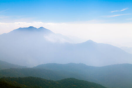 Beautiful foggy landscape in the mountains, Chiang Mai, Thailand Stock Photo