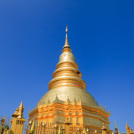 Golden Pagoda at Wat Phra That Hariphunchai in Lamphun province, Thailand