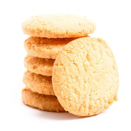 Milk cookies isolated on white background, studio isolated Stock Photo