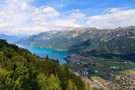 harder: Lake Brienz from the view point of Harder Kulm, Interlaken, Switzerland