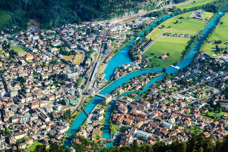 Interlaken town and Aare river, from the view point of Harder Kulm, Interlaken, Switzerland
