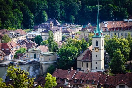 Bern cityscape. Swiss capital city. Nydeggkirche (Nydegg Church). Stock Photo