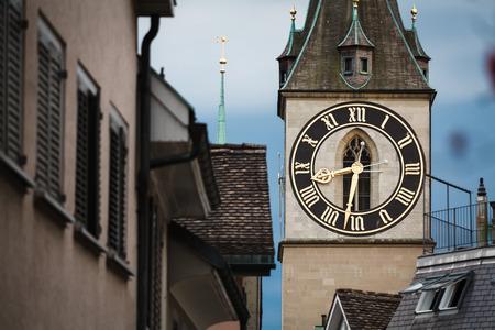 Clock tower in Zurich, Switzerland, close up Stock Photo