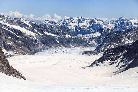 aletsch: Aletsch glacier view from Jungfraujoch, the highest railway station in Europe, Bernese Oberland, Switzerland Stock Photo