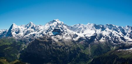 eiger: The Jungfrau, Monch, Eiger, panorama view from the top of Shilthorn, Switzerland.