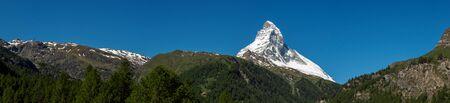 Panorama view of Matterhorn peak in sunny day from, Zermatt, Switzerland. Stock Photo