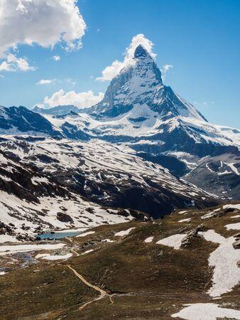 Matterhorn peak in sunny day view from Rotenboden train station, Zermatt, Switzerland.