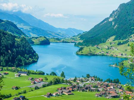 High view point lake Lungern and village from Brunig Pass, Switzerland.