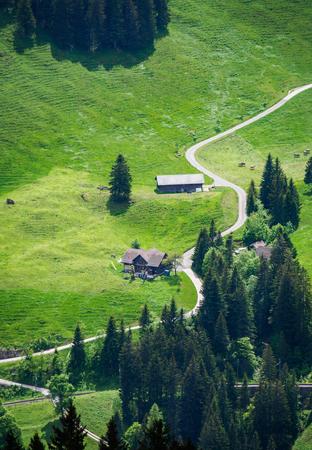 Small farmhouse from high view point on Mount Rigi, Luzern, Switzerland. Stock Photo