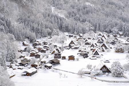 Historic Villages of Shirakawa-go and Gokayama, Japan. Winter in Shirakawa-go, Japan. Traditional style huts in Gassho-zukuri Village, Shirakawago and Gokayama, Stock Photo