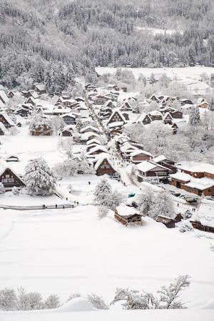 Historic Villages of Shirakawa-go and Gokayama, Japan. Winter in Shirakawa-go, Japan. Traditional style huts in Gassho-zukuri Village, Shirakawago and Gokayama