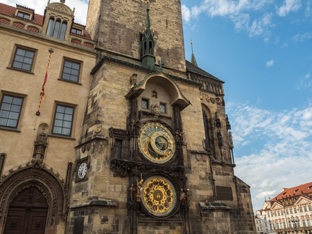 Astronomical clock tower at Prague old town square, Prague, Czech Republic.