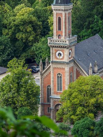 Protestant parish Salzburg Christ Church on Salzbach river, Salzburg, Austria. Stock Photo