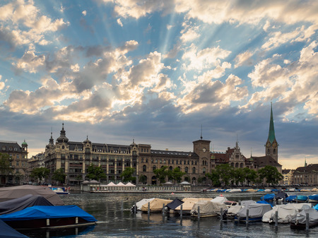 Limmat river and famous Zurich city with beautiful sky, Switzerland.