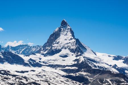 Matterhorn peak in sunny day view from gornergrat train station, Zermatt, Switzerland. Editorial