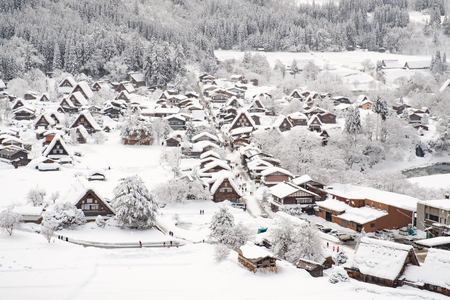 Historic Villages of Shirakawa-go and Gokayama, Japan. Winter in Shirakawa-go, Japan. Traditional style huts in Gassho-zukuri Village, Shirakawago and Gokayama, World Heritage Site.