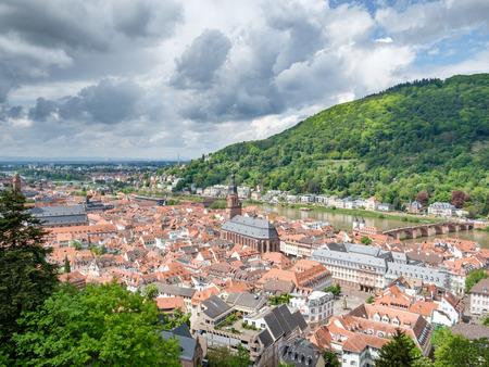 Beautiful view of Heidelberg town and Carl-Theodor bridge, Heidelberg, Germany. Editorial