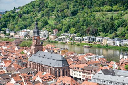 Beautiful view of Heidelberg town and Carl-Theodor bridge, Heidelberg, Germany. Stock Photo