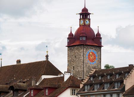 The famous red clock tower in Luzern city, Luzern, Switzerland.