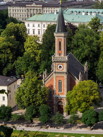 Protestant parish Salzburg Christ Church on Salzbach river, Salzburg, Austria. Editorial
