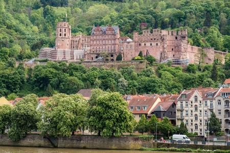 Beautiful view of Heidelberg castle and Neckar river, Heidelberg, Germany.