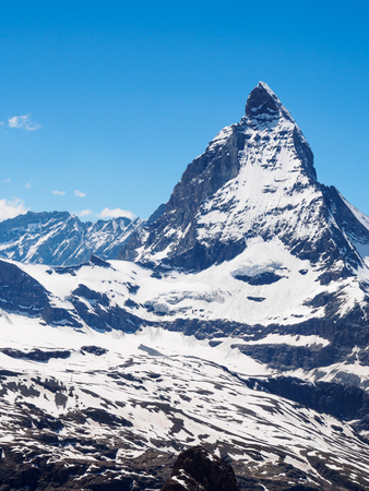 Matterhorn peak in sunny day view from gornergrat train station, Zermatt, Switzerland. Stock Photo