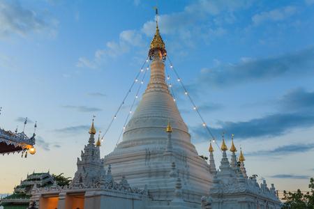 Doi Kong Moo pagoda lighted up in Mae Hong Sorn province, north of Thailand.