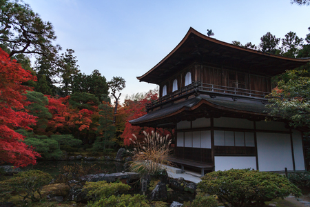 Ginkakuji temple and decorated zen garden in autumn, Kyoto, Kansai, Japan.