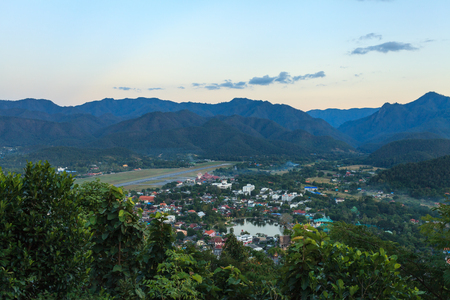 Mae Hong Son city in north of Thailand from the famous view point during sunset. Stock Photo