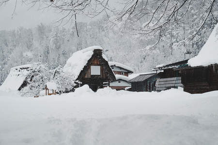 Historic Villages of Shirakawa-go, Japan in snowy day, film tone, classic look. Stock Photo