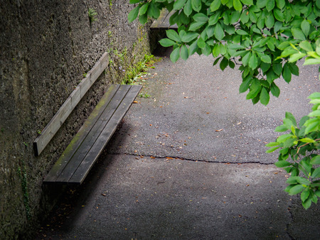 Old wooden bench attached on brick wall with green leaves in foreground